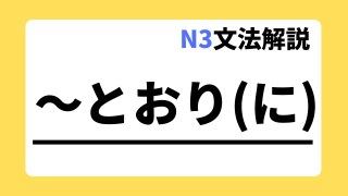 N3文法解説「~とおりに」
