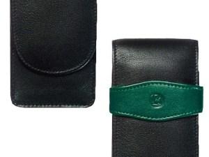 0lederetui Grün für zwei Schreibgeräte