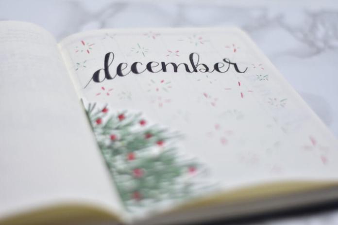 Mijn bullet journal setup voor december kerstthema