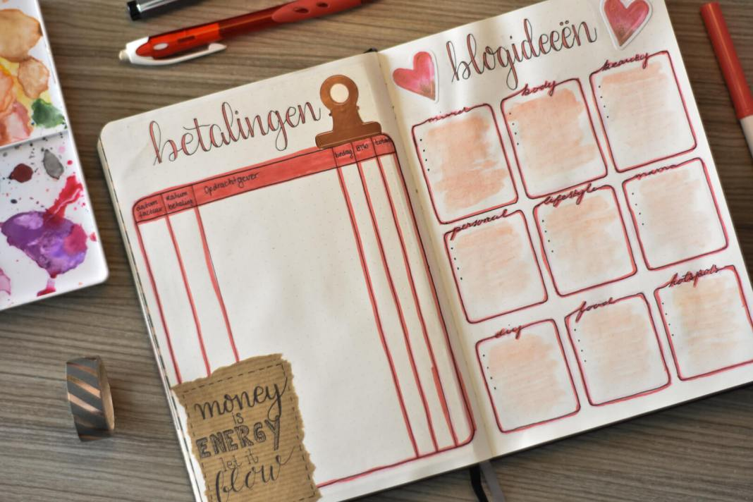 bullet journal in februari betalingen en blogideeen