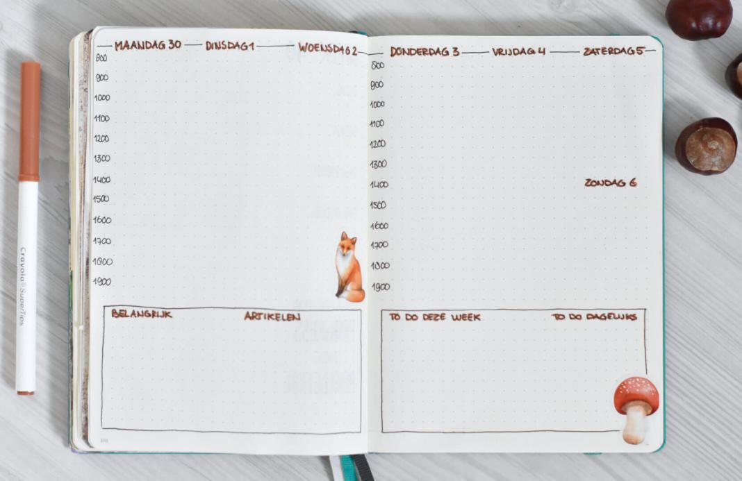 bullet journal in oktober weekplanning