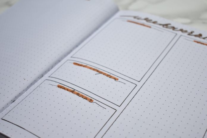 bullet journal setup voor oktober weekoverzicht