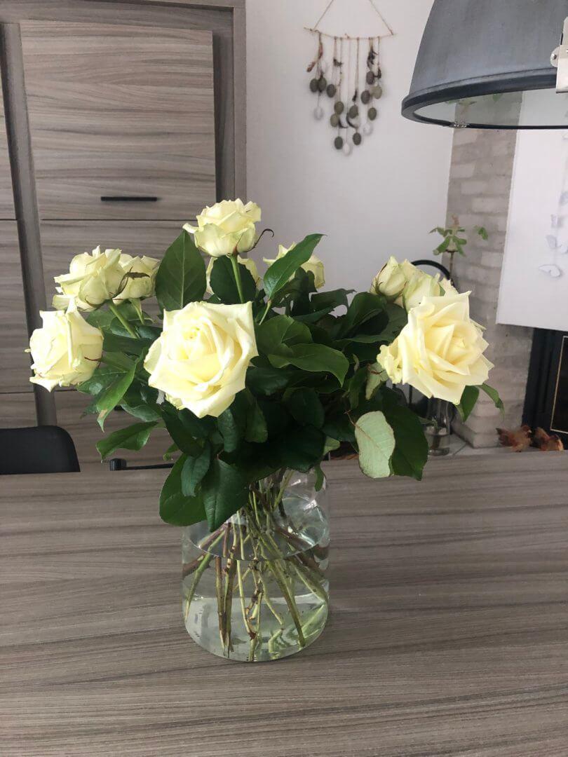fotoshoot en mooie bloemen van Alex gekregen