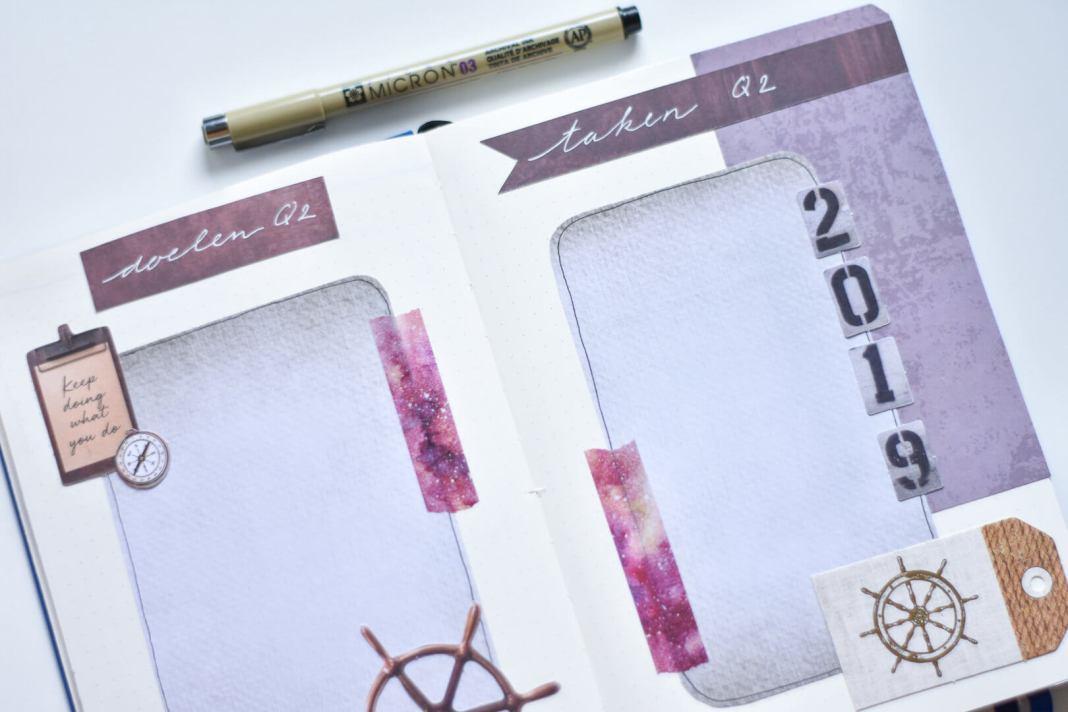 zakelijke doelen en taken voor Q2 in mijn bullet journal