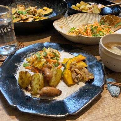 南瓜と豚肉の甘辛炒め