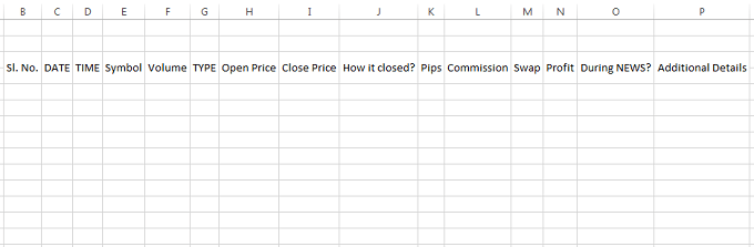 excel trading journal