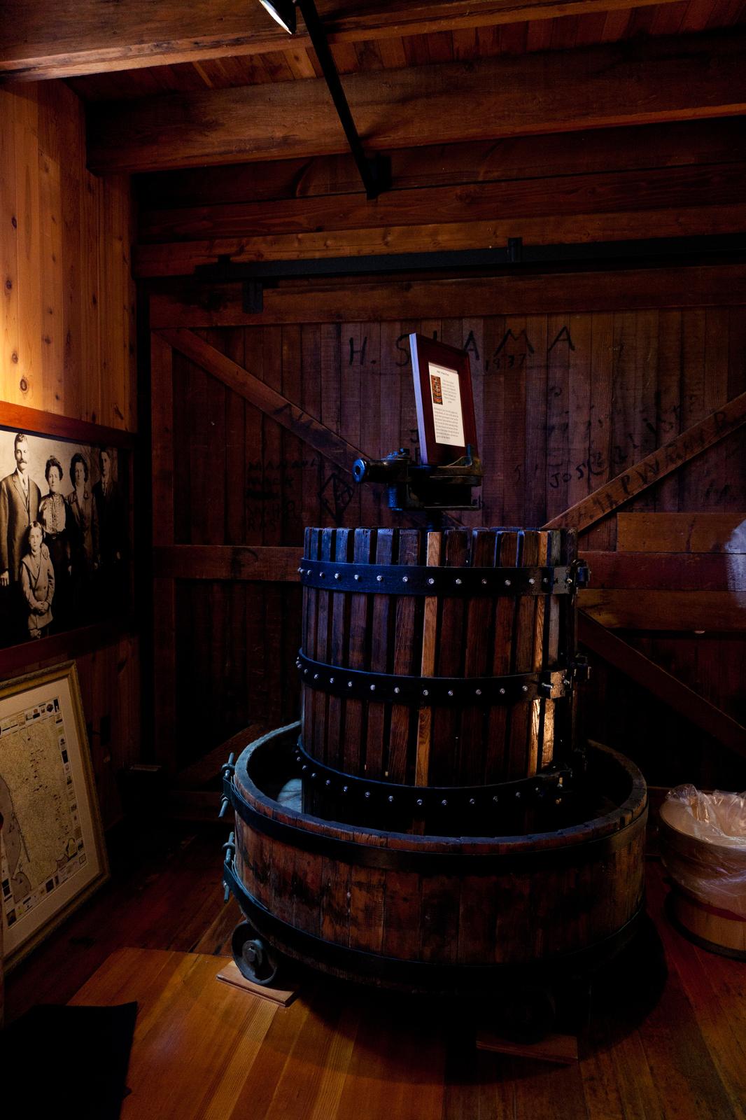Grape presser at winery