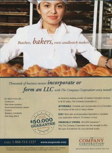 Full page ad with woman baker holding platter of croissants