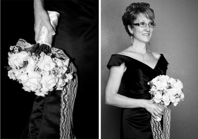 2 black and white shots of bride with her bouquet
