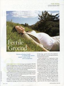 Illustration in Yoga Journal with pregnant woman laughing