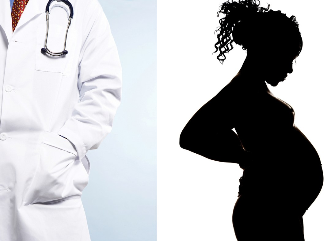 Two photos - 1 a doctor, 2 a pregnant woman in silhouette