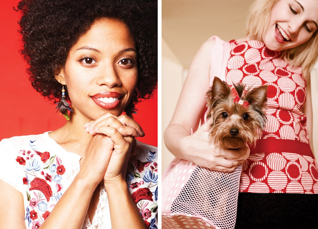 Two photos. 1 headshot and 2 woman with dog