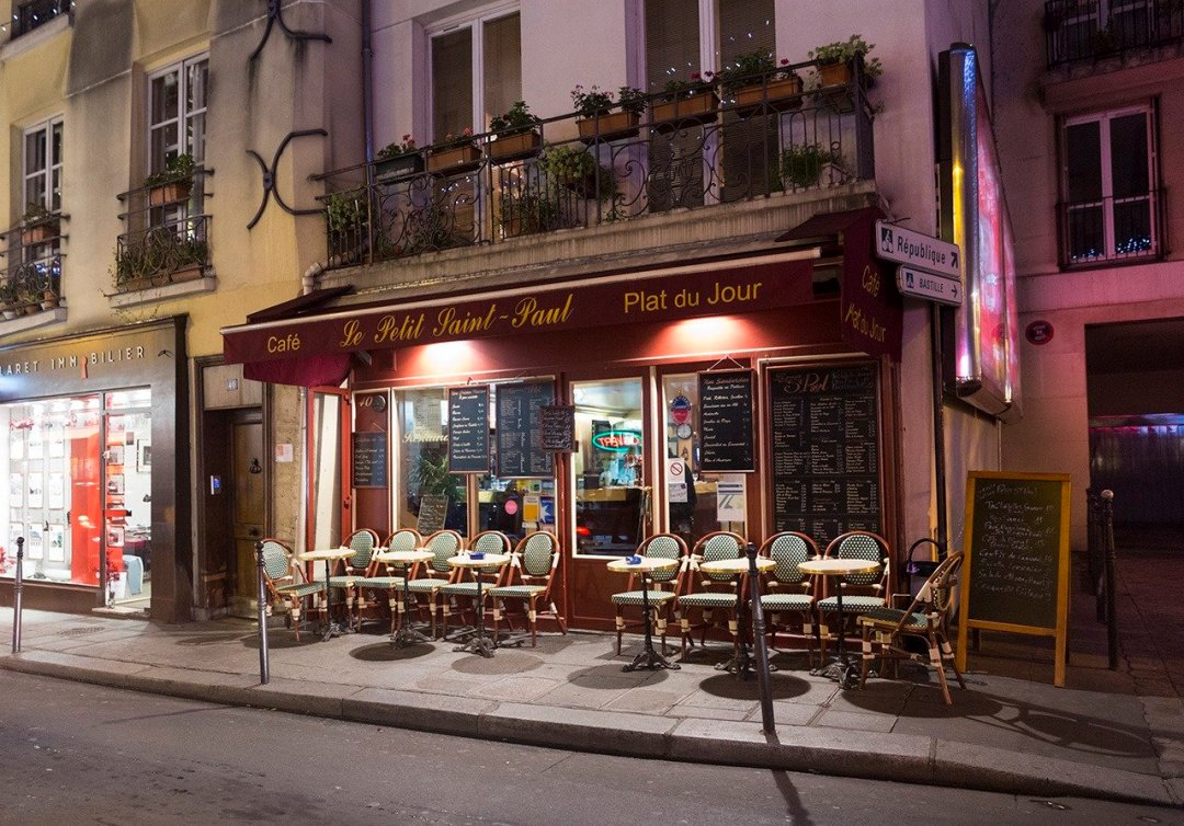 Parisian café, shot outdoors in the evening
