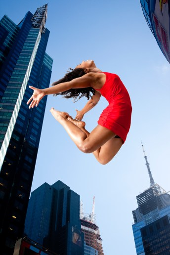 Composite image of female modern dancer in New York City