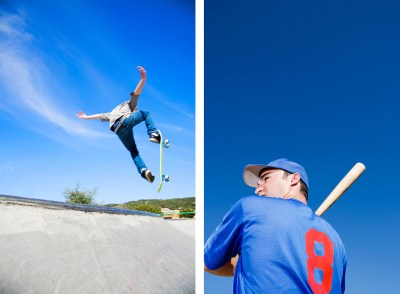 two photos of two sports players on blue sky background