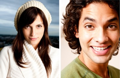 Two individual shots of handsome girl and man