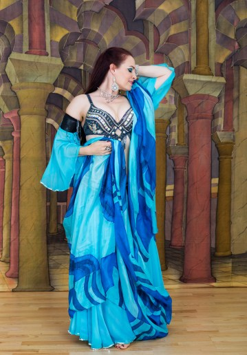 Belly dancer in blue scarf