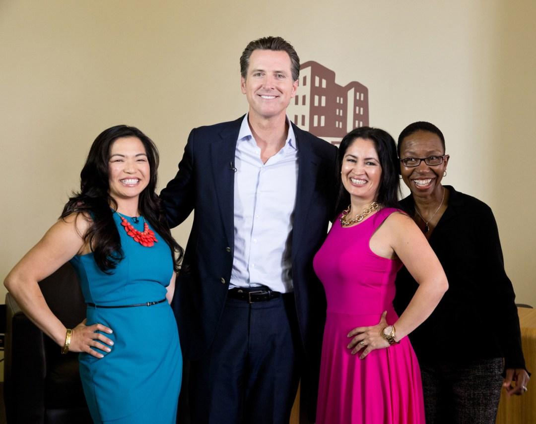 Gavin Newsom with three smiling ladies
