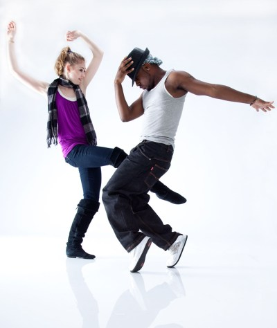 Couple of hip hop dancers dancing