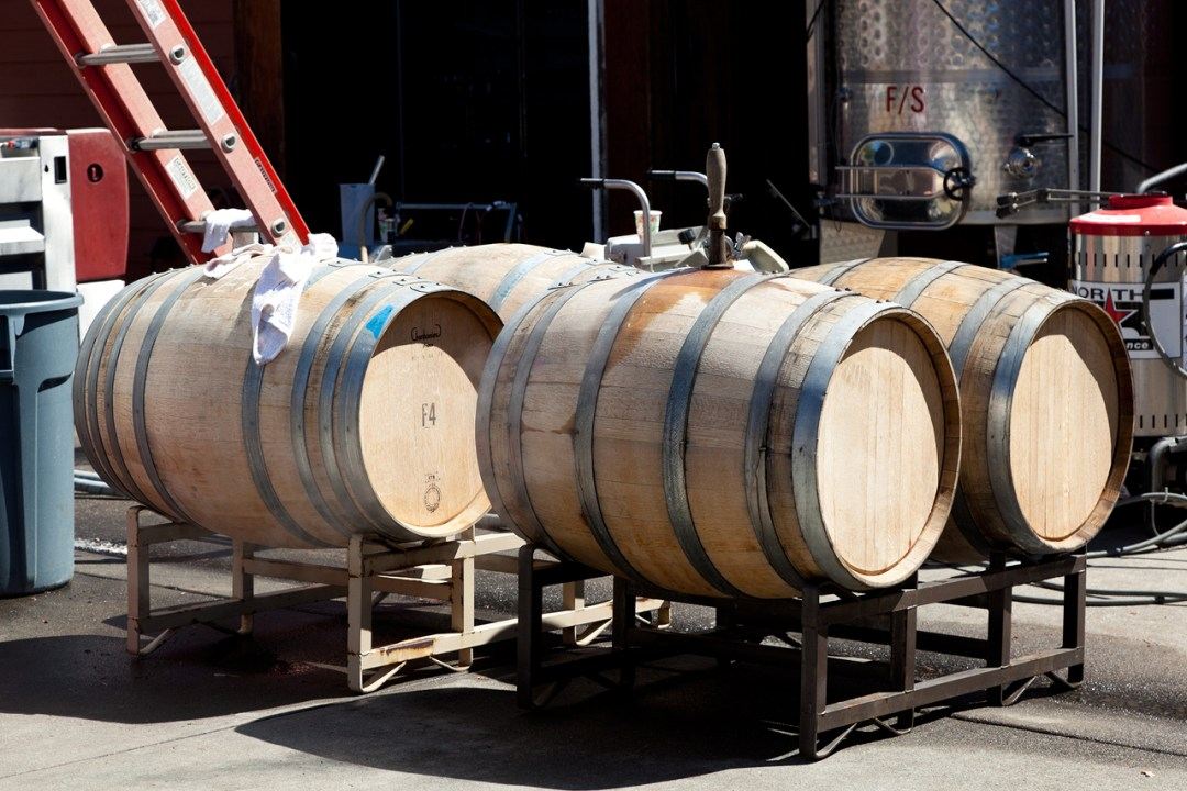 Wine barrels playing on their side