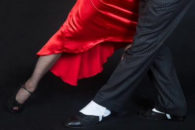 closeup of feet of couple doing tango