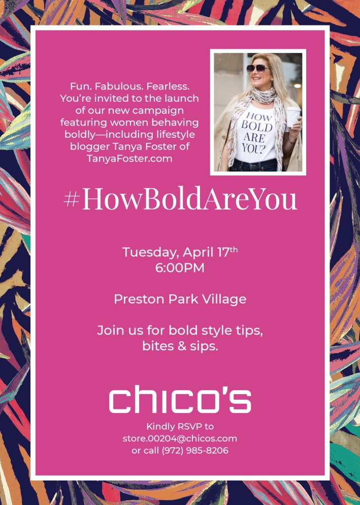 #HowBoldAreYou Chico's in-store party invitation with TanyaFoster.com
