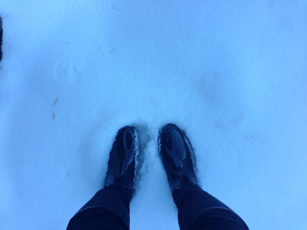 Coach rain boots in the snow