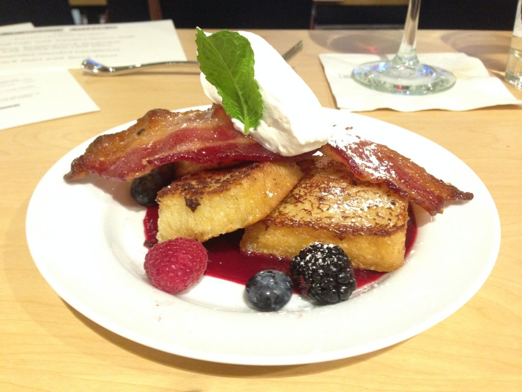French toast with berry puree