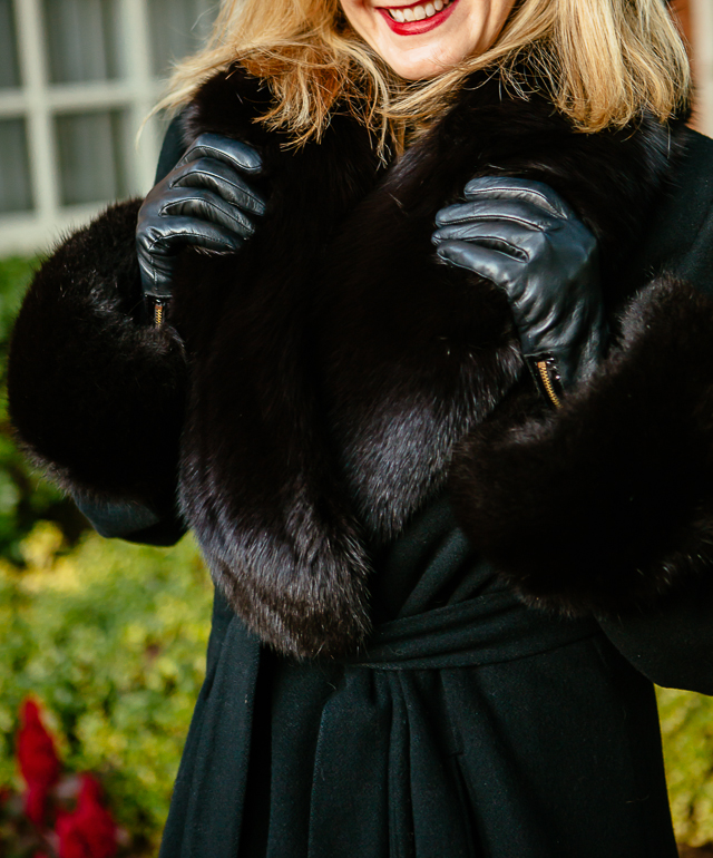 black winter coat from Neiman Marcus