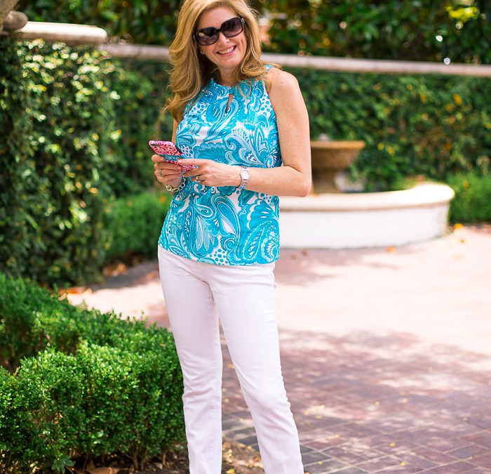 summer print and white denim