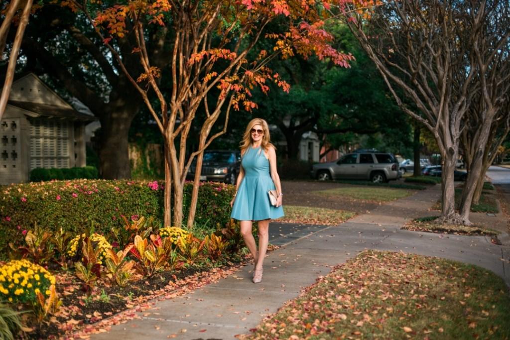 Halston Heritage blue dress, Tanya Foster, tanyafoster.com