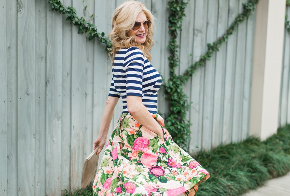 mixing floral and stripes