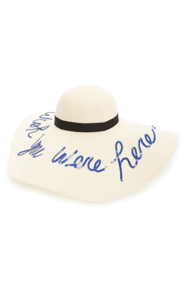 Eugenia kim hat, wish you were here, summer hat, pool accessory, 4th of july casual style