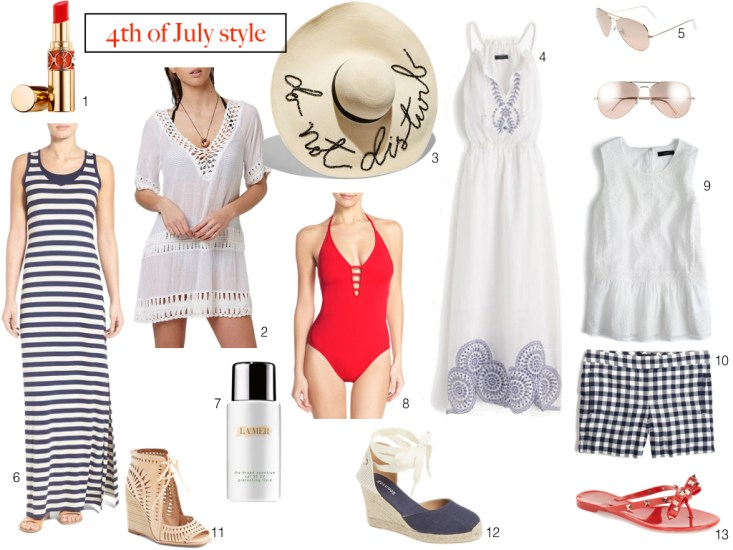 4th of July, casual style options, red white and blue, blue stripped dress, red one piece swimsuit
