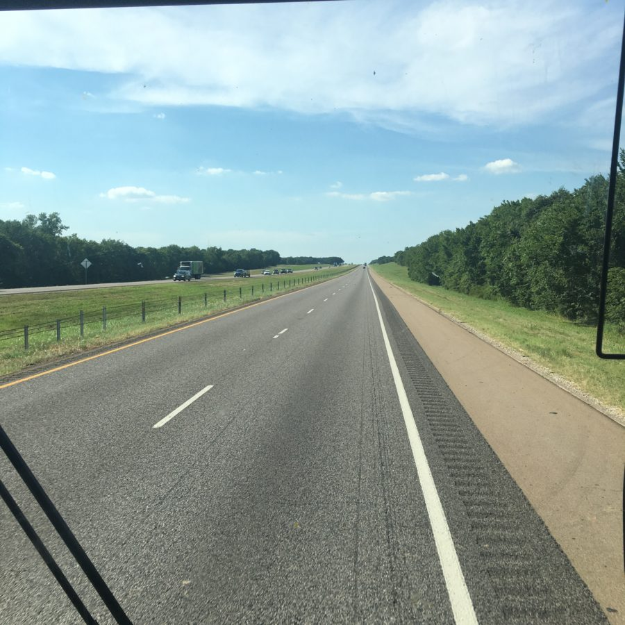 Vonlane bus on I-45, Texas travel, highway, summer travel ease, open roads