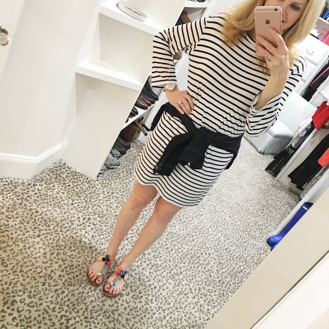 stripped dress, denim jacket, Nordstrom sale, Tanya Foster closet, casual look