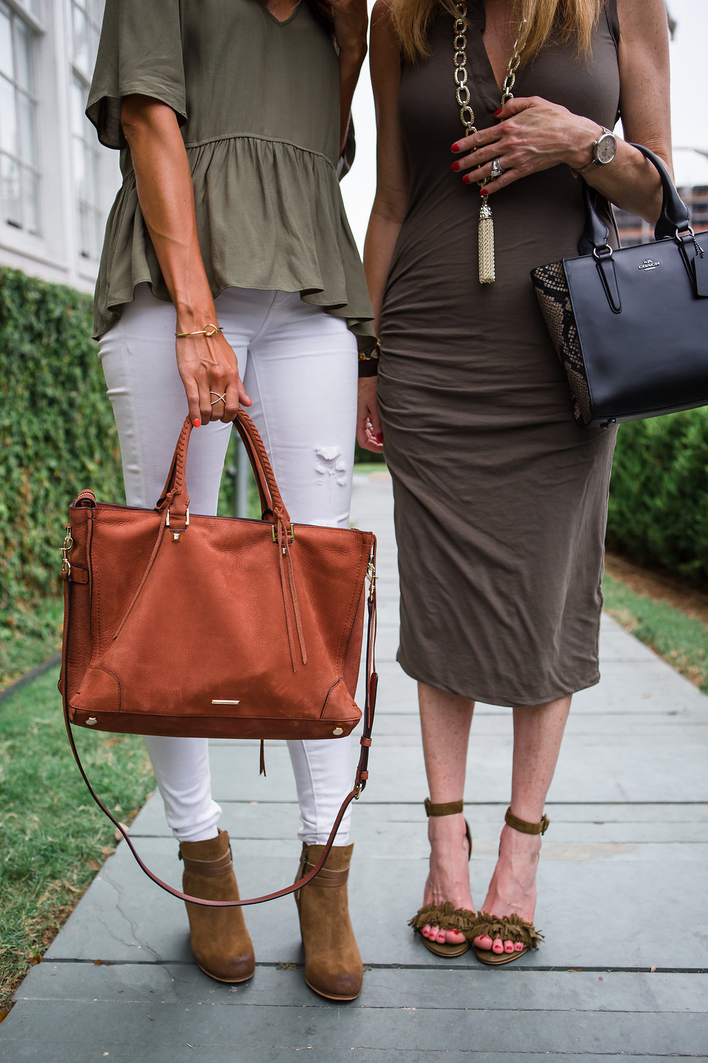 Tanya Foster and Amanda Miller, white jeans, olive top, olive dress, Dallas Fashion Bloggers, rewardStyle