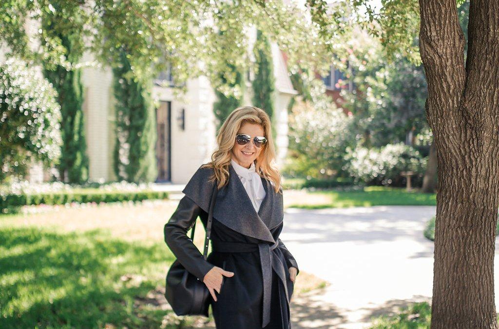 fall wardrobe staples | wrap coat and navy jacket