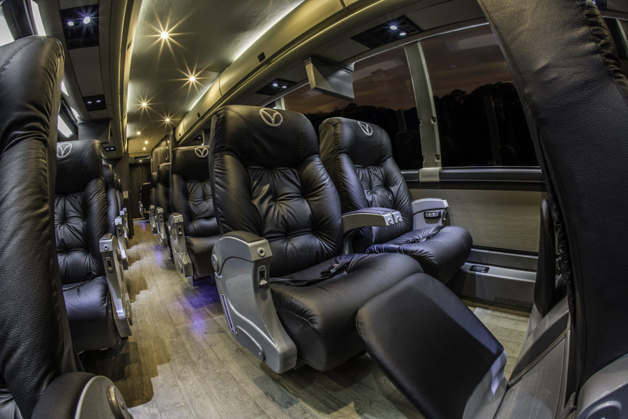First class seats in Vonlane bus, leather seats, leg room, first class, Texas travel