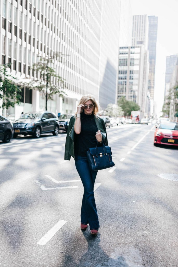 NYFW 2016, Avenue 32, Saint Bernard, mules, Phillip Lim navy bag, faux leather jacket, Provenza Schouler shoes, Tanya Foster