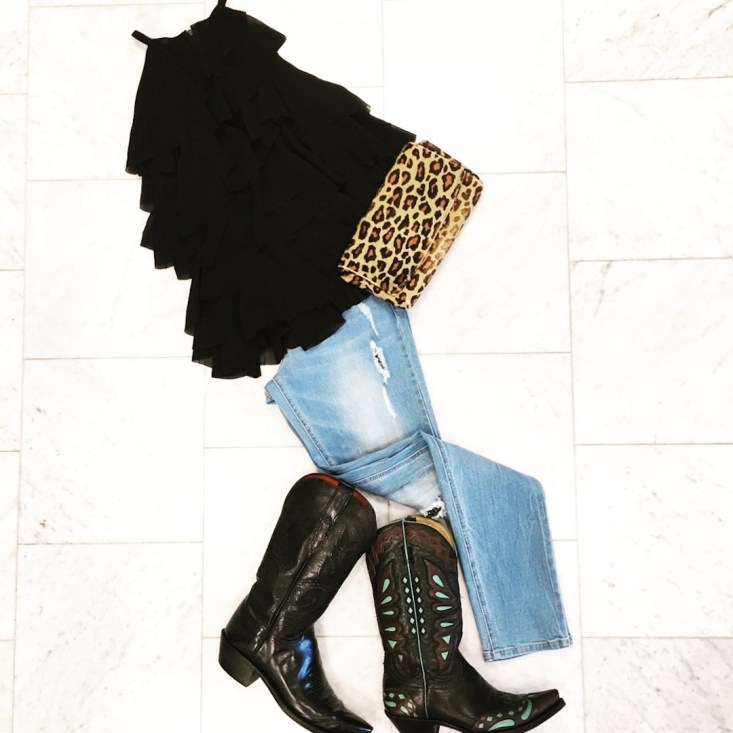 black top with jeans, cowboy boots and clutch, CAttle BAron's Ball casual look