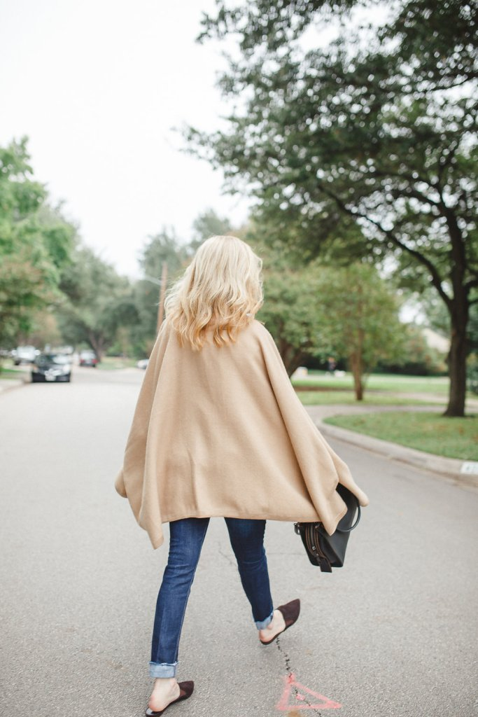 Cuyana alpaca cape, coach bag, skinny jeans and Jenni Kayne suede mules on TanyaFoster.com