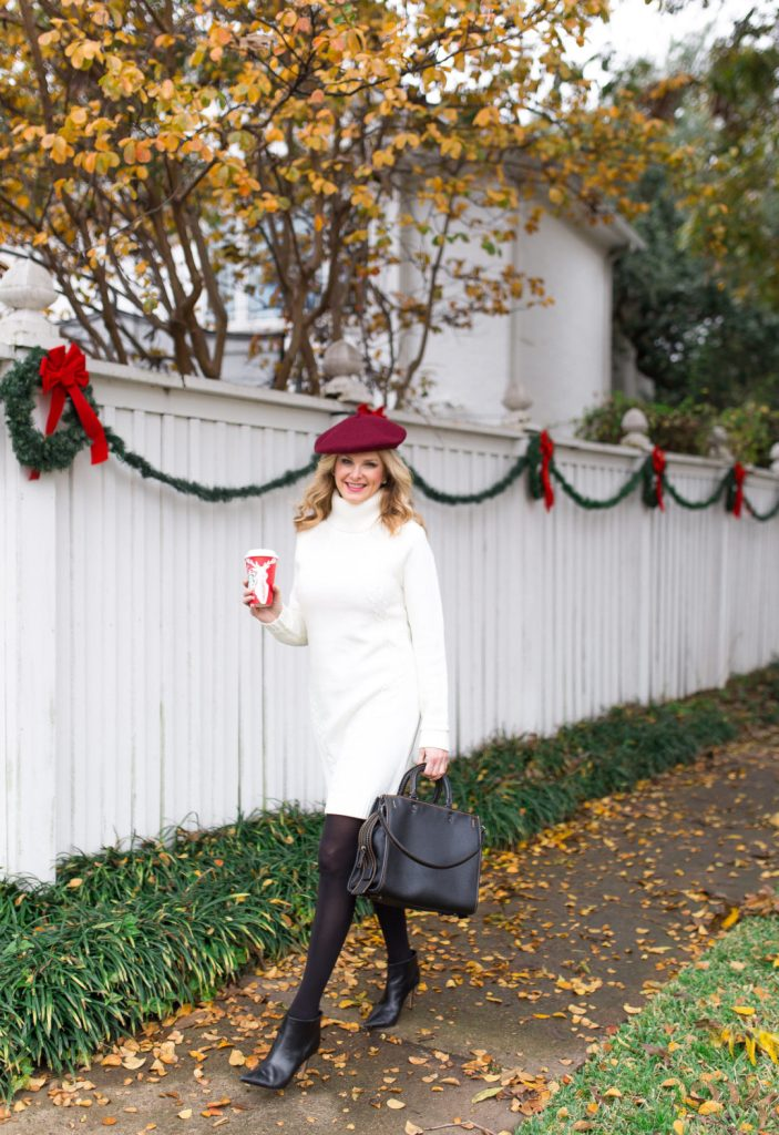 Coach black bag, Eliza J cable sweater dress and faux fur coat
