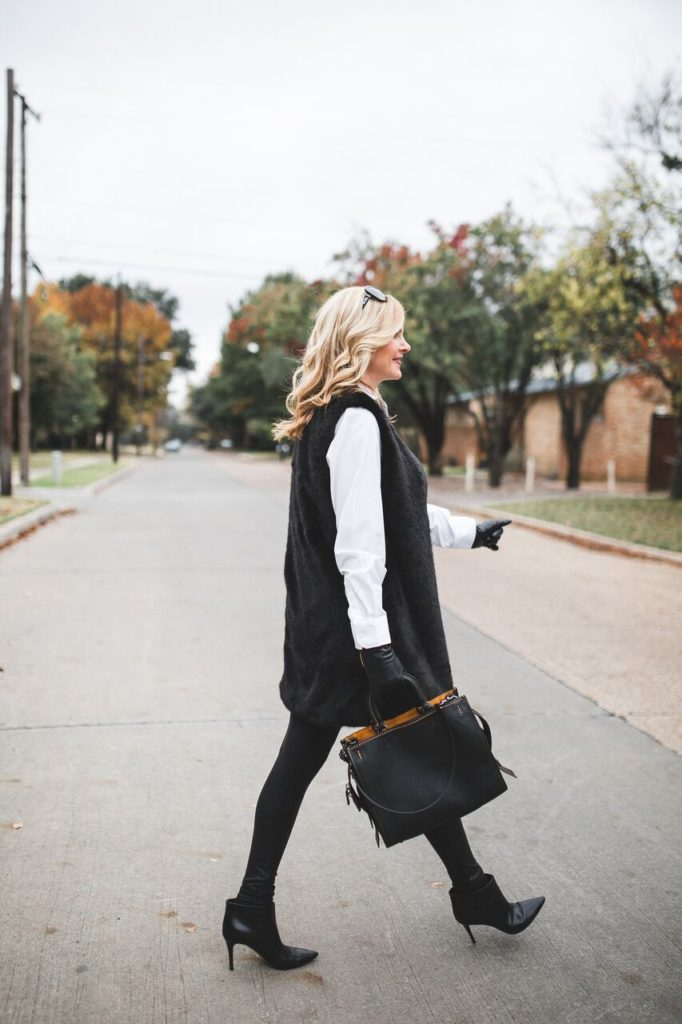 How to wear a faux fur vest from Talbots with faux leather leggings from Spanx