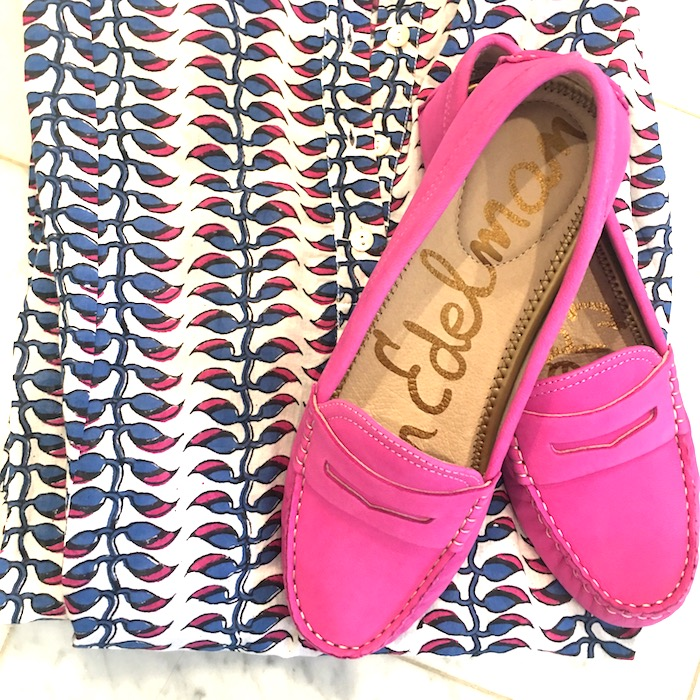 Roberta Roller Rabbit shirt dress and Sam Edelman pink loafers.