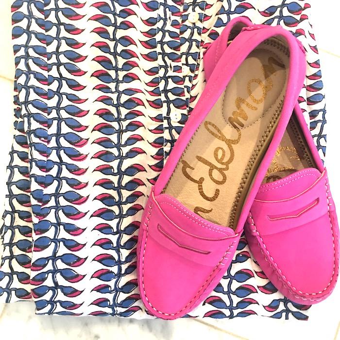 Roberta Roller Rabbit shirt dress and Sam Edelman pink loafers.
