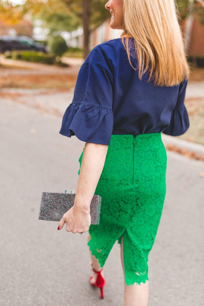 Pantone Color of the year - GREEN. J. Crew lace skirt and blue ruffle top.