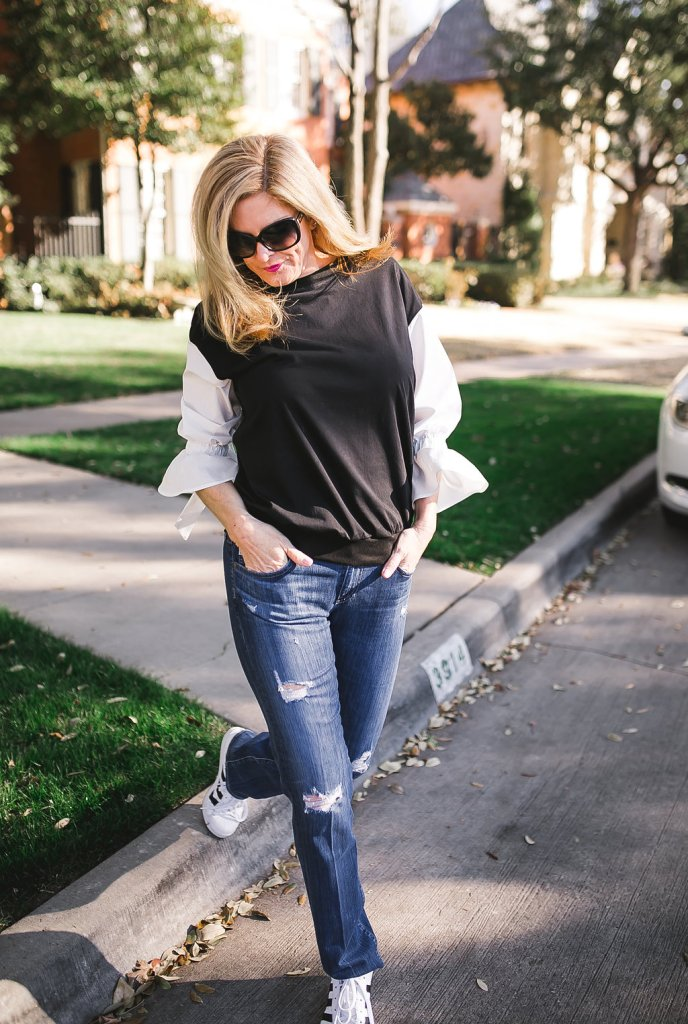 Pairing this SheIn black and white top with distressed jeans and Adidas tennis shoes for a weekend casual look.