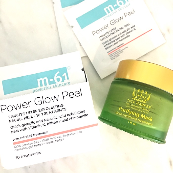 M-61 power glow peel and Tata Harper mask