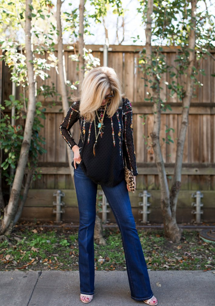 Chicwish floral top with Paige denim in a flare bootcut.
